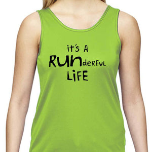 "Ladies Sports Tech Tank Crew - ""It's A Runderful Life"""