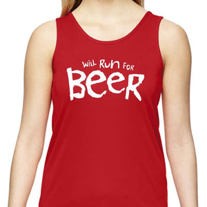 "Ladies Sports Tech Tank Crew - ""Will Run For Beer"""
