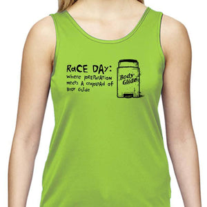 "Ladies Sports Tech Tank Crew - ""Race Day: Where Preparation Meets A Crapload Of Body Glide"""