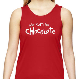"Ladies Sports Tech Tank Crew - ""Will Run For Chocolate"""