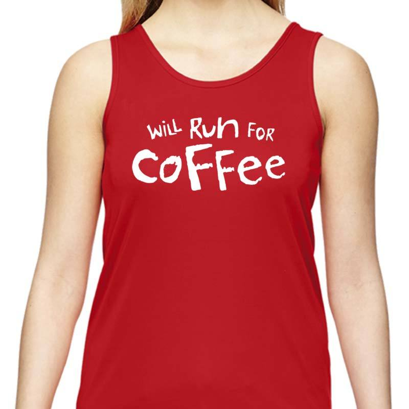"Ladies Sports Tech Tank Crew - ""Will Run For Coffee"""