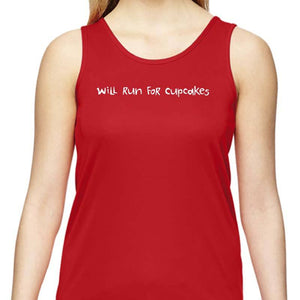 "Ladies Sports Tech Tank Crew - ""Will Run For Cupcakes"""