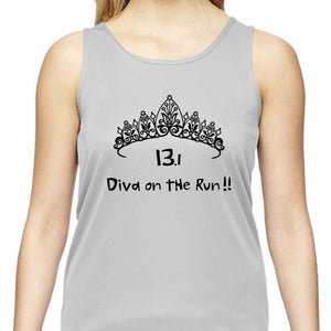 "Ladies Sports Tech Tank Crew - ""13.1 Diva On The Run"""