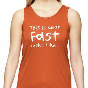 "Ladies Sports Tech Tank Crew - ""This Is What Fast Looks Like ... In Slow Motion"""