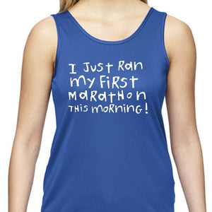 "Ladies Sports Tech Tank Crew - ""First Marathon - Third Beer"""