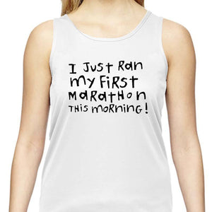 "Ladies Sports Tech Tank Crew - ""First Marathon - Third Wine"""