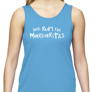 "Ladies Sports Tech Tank Crew - ""Will Run For Margaritas"""