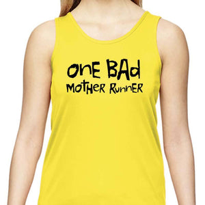 "Ladies Sports Tech Tank Crew - ""One Bad Mother Runner"""