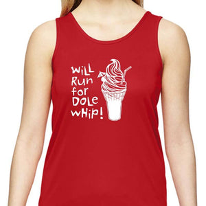 "Ladies Sports Tech Tank Crew - ""Will Run For Dole Whip"""