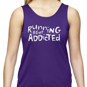 "Ladies Sports Tech Tank Crew - ""Running #Get Addicted"""