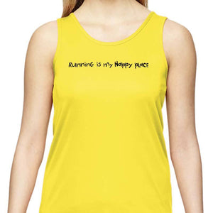 "Ladies Sports Tech Tank Crew - ""Running Is My Happy Place"""