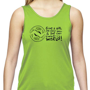 "Ladies Sports Tech Tank Crew - ""Give A Girl The Right Shoes And She Can Conquer The World"""