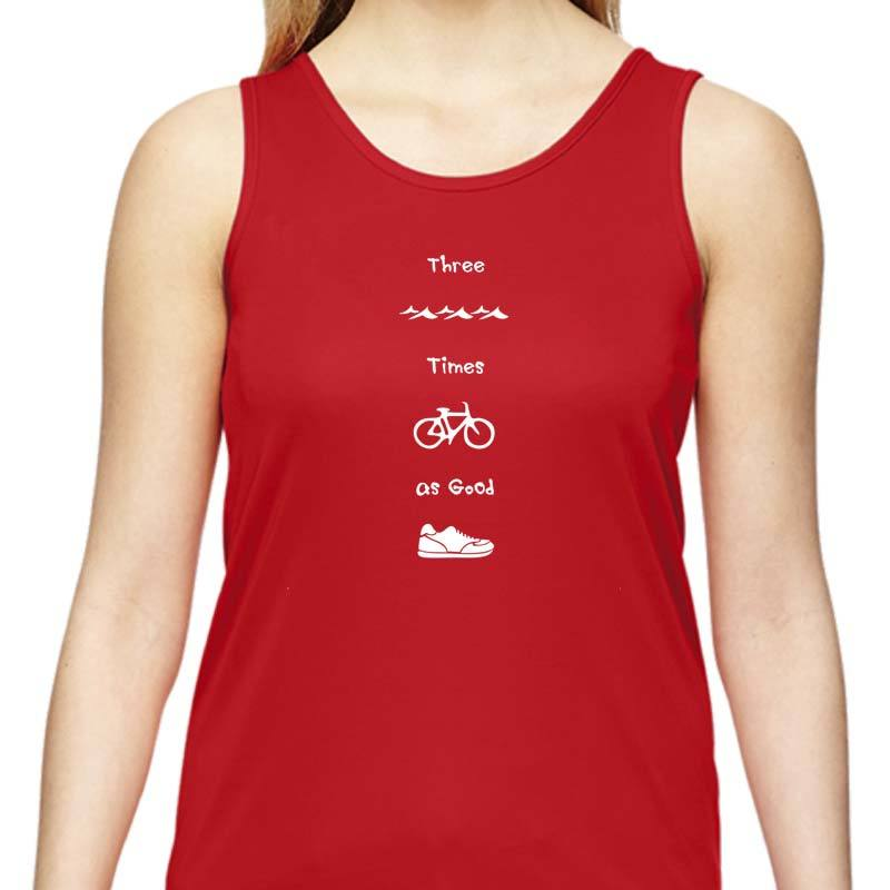 "Ladies Sports Tech Tank Crew - ""Three Times As Good"""