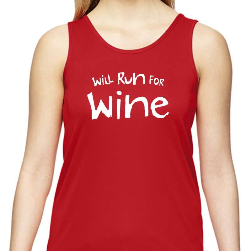 "Ladies Sports Tech Tank Crew - ""Will Run For Wine"""