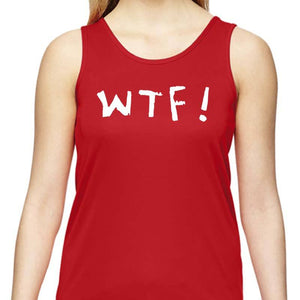 "Ladies Sports Tech Tank Crew - ""WTF (Where's The Finish?)"""