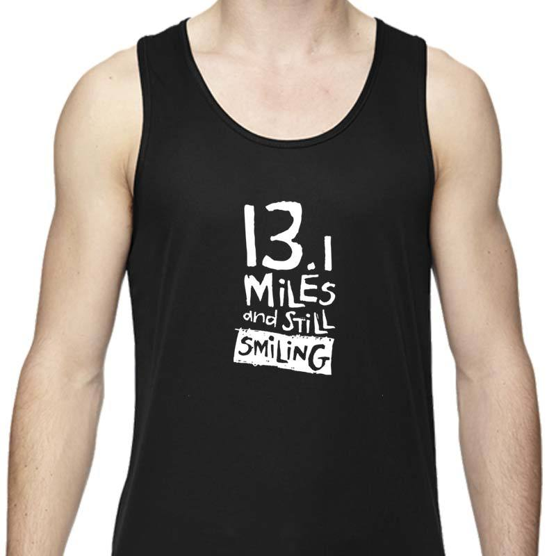 "Men's Sports Tech Tank - ""13.1 Miles And Still Smiling"""