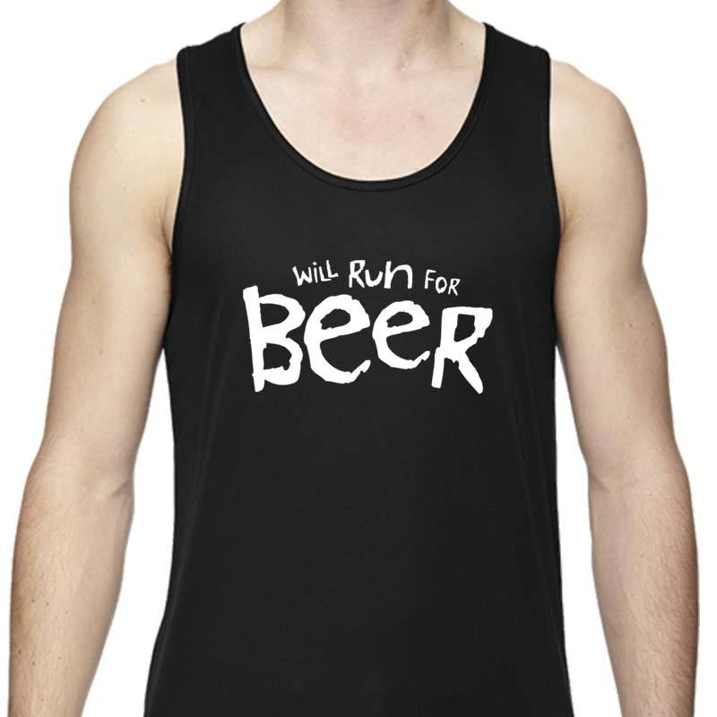"Men's Sports Tech Tank - ""Will Run For Beer"""