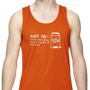 "Men's Sports Tech Tank - ""Race Day: Where Preparation Meets A Crapload Of Body Glide"""