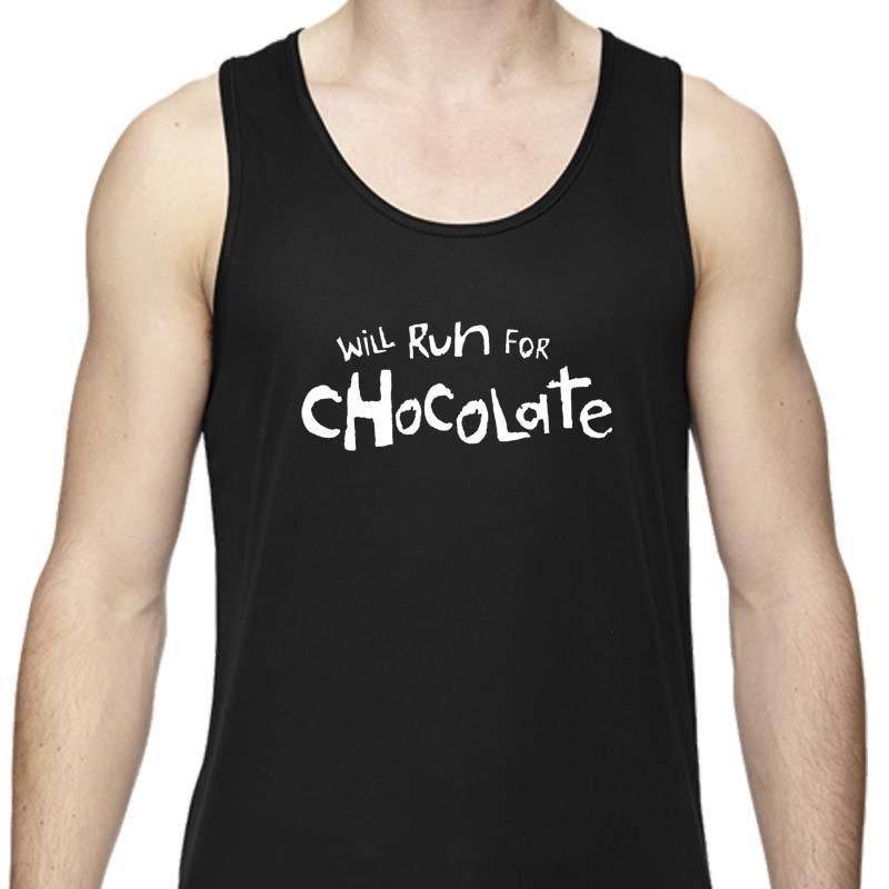 "Men's Sports Tech Tank - ""Will Run For Chocolate"""
