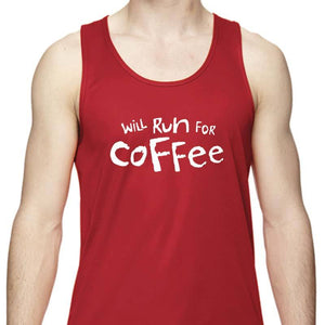 "Men's Sports Tech Tank - ""Will Run For Coffee"""