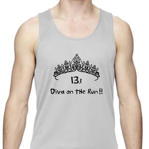 "Men's Sports Tech Tank - ""13.1 Diva On The Run"""