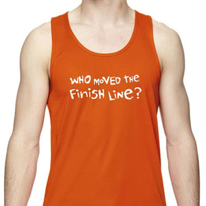 "Men's Sports Tech Tank - ""Who Moved The Finish Line?"""