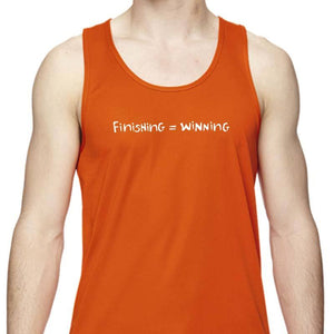 "Men's Sports Tech Tank - ""Finishing = Winning"""