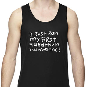"Men's Sports Tech Tank - ""First Marathon - Third Beer"""