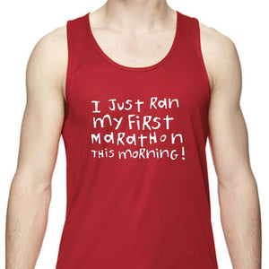 "Men's Sports Tech Tank - ""First Marathon - Third Wine"""