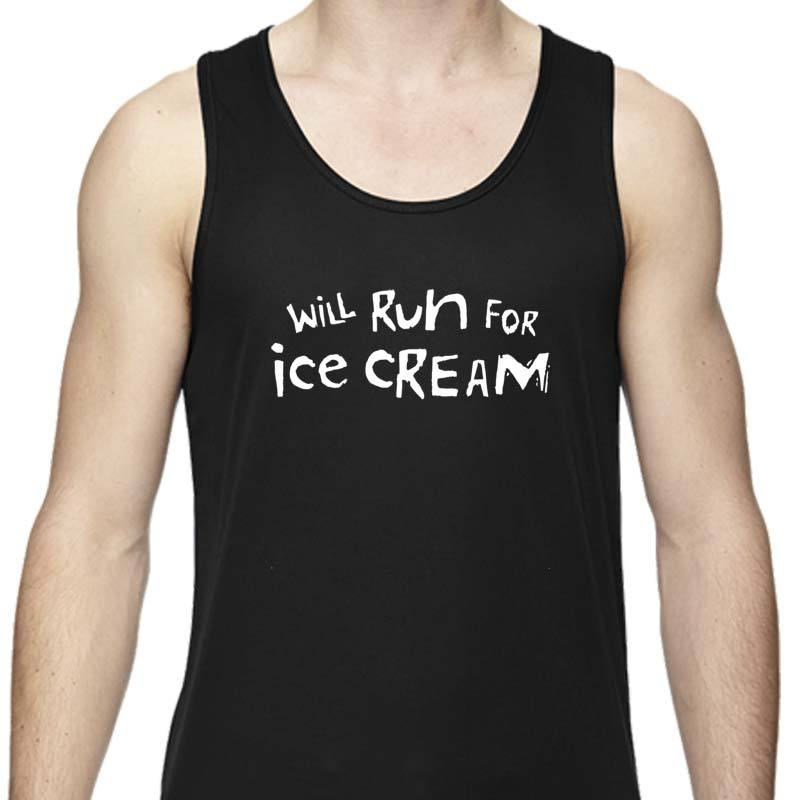 "Men's Sports Tech Tank - ""Will Run For Ice Cream"""