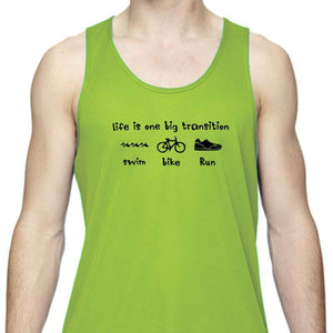 "Men's Sports Tech Tank - ""Life Is One Big Transition"""