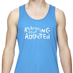 "Men's Sports Tech Tank - ""Running #Get Addicted"""