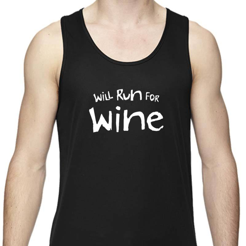 "Men's Sports Tech Tank - ""Will Run For Wine"""