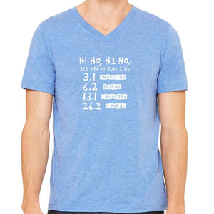 "Men's Perfect Tri Short Sleeve V - ""Hi Ho, Hi Ho, It's Off To Run I Go"""