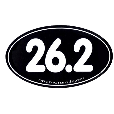 "Car Magnet ""26.2 Smooth Font"" - Black w/ White Imprint"