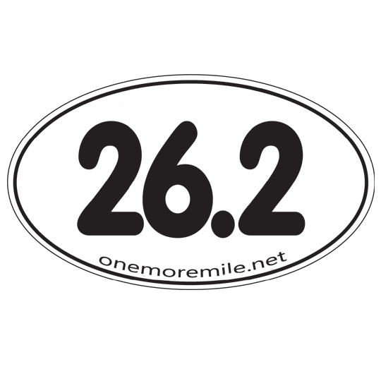 "Car Magnet ""26.2 Smooth Font"" - White w/ Black Imprint"