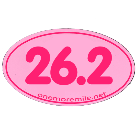 "Car Magnet ""26.2 Smooth Font"" - Pink w/ Fuschia Imprint"