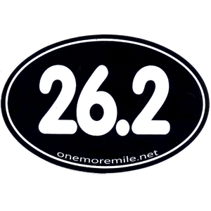 "Large Oval Sticker ""26.2 Smooth Font"" - Black w/ White Imprint"