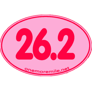 "Large Oval Sticker ""26.2 Smooth Font"" - Pink w/ Fuchsia Imprint"