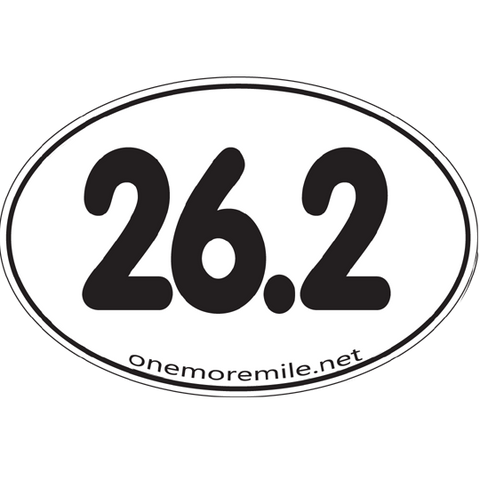 "Large Oval Sticker ""26.2 Smooth Font"" - White w/ Black Imprint"