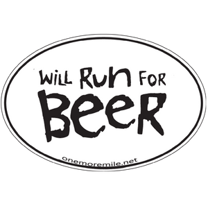 "Large Oval Sticker ""Will Run For Beer"""
