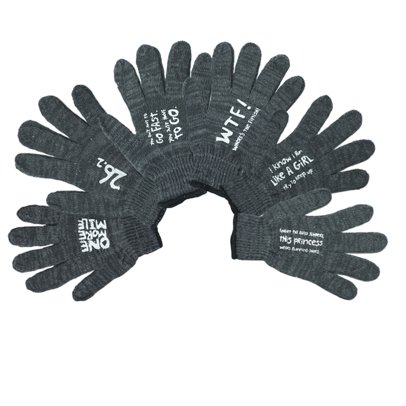 Slogan Gloves, Grey