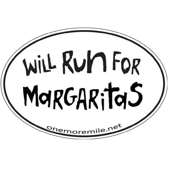 "Large Oval Sticker ""Will Run For Margaritas"""