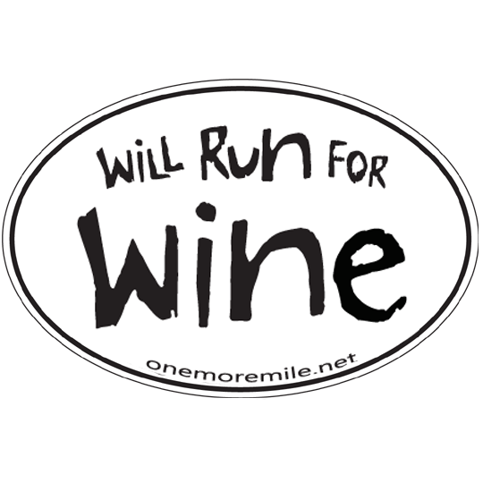 "Large Oval Sticker ""Will Run For Wine"""
