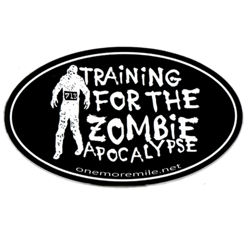 "Car Magnet ""Training For The Zombie Apocalypse"" - Black w/ White Imprint"