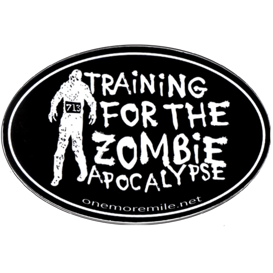 "Large Oval Sticker ""Training For The Zombie Apocalypse"" - Black w/ White Imprint"