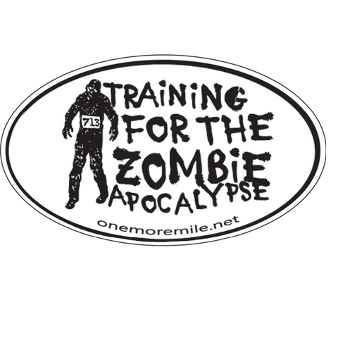 "Car Magnet ""Training For The Zombie Apocalypse"" - White w/ Black Imprint"