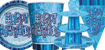 Blue Glitz Birthday Supplies