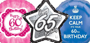 Age 60-65 Birthday Balloons