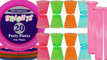Neon Party Tableware